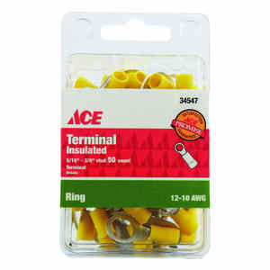 Ace  Insulated Wire  Ring Terminal  Yellow  50 pk
