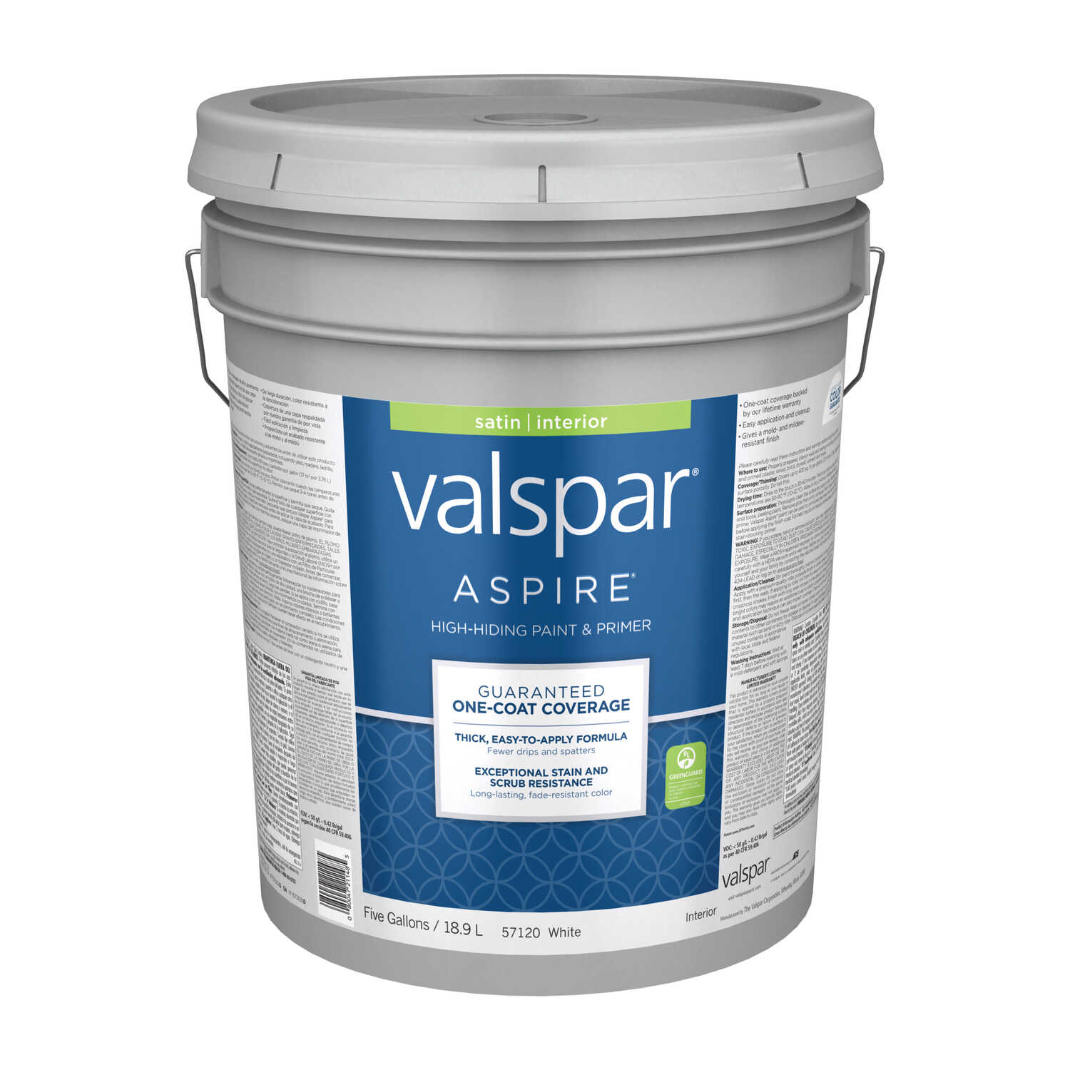 Valspar  Aspire  Basic White  Acylic Latex  5 gal. Paint and Primer  Satin
