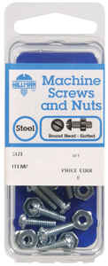 Hillman  No. 10-24 in.  x 3/4 in. L Slotted  Round Head Zinc-Plated  Steel  Machine Screws  10 pk
