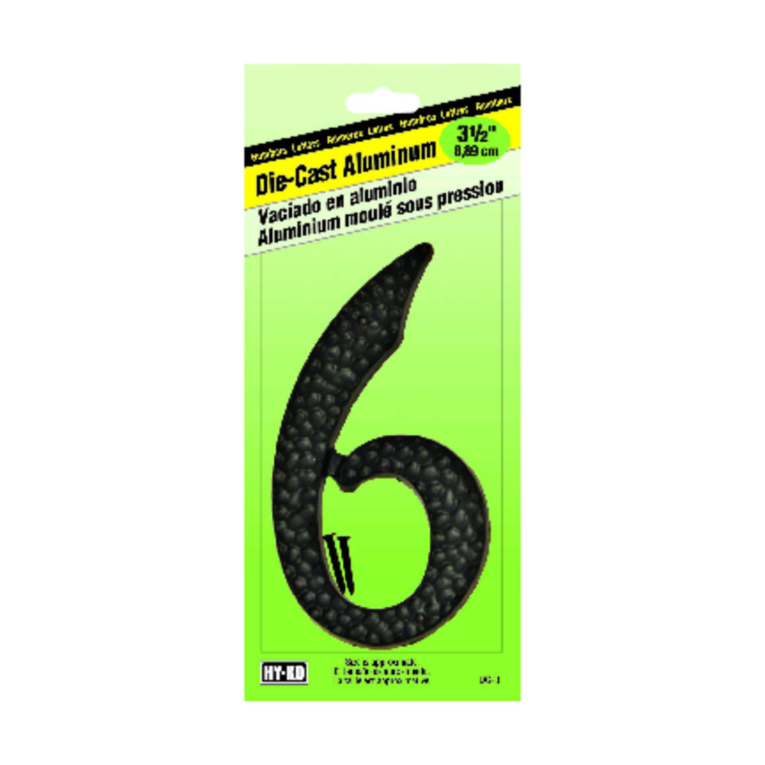 Hy-Ko  3-1/2 in. Aluminum  Black  6  Number  Nail-On