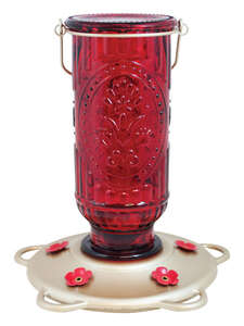 More Birds  Red Vintage  Hummingbird  20  Nectar Feeder  5 ports Glass