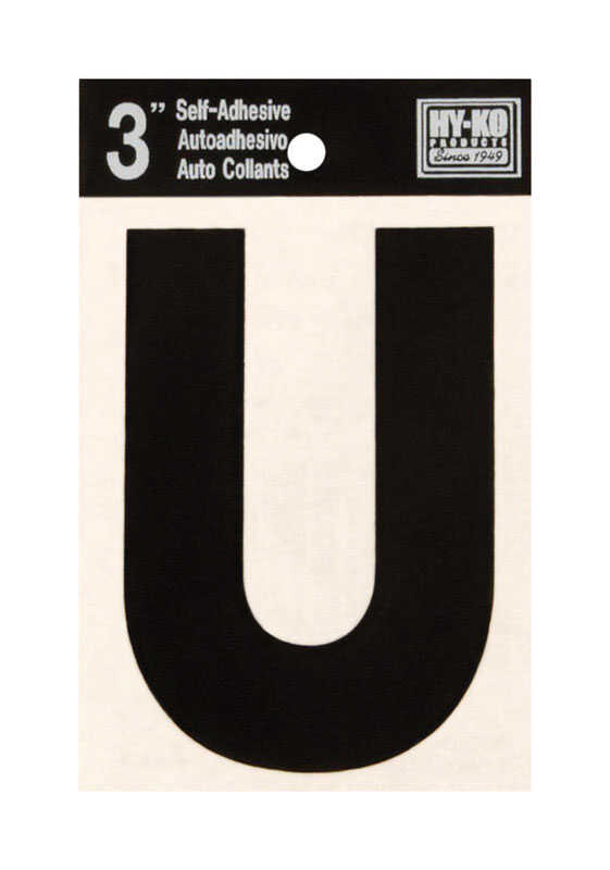 Hy-Ko  Vinyl  U  Letter  Self-Adhesive  Black  3 in.