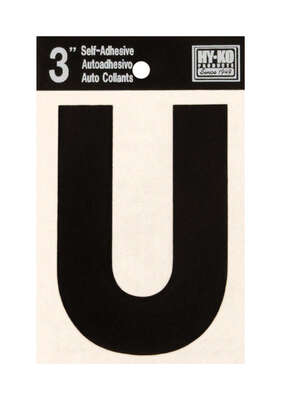 Hy-Ko  3 in. Black  Vinyl  Self-Adhesive  Letter  U  1 pc.