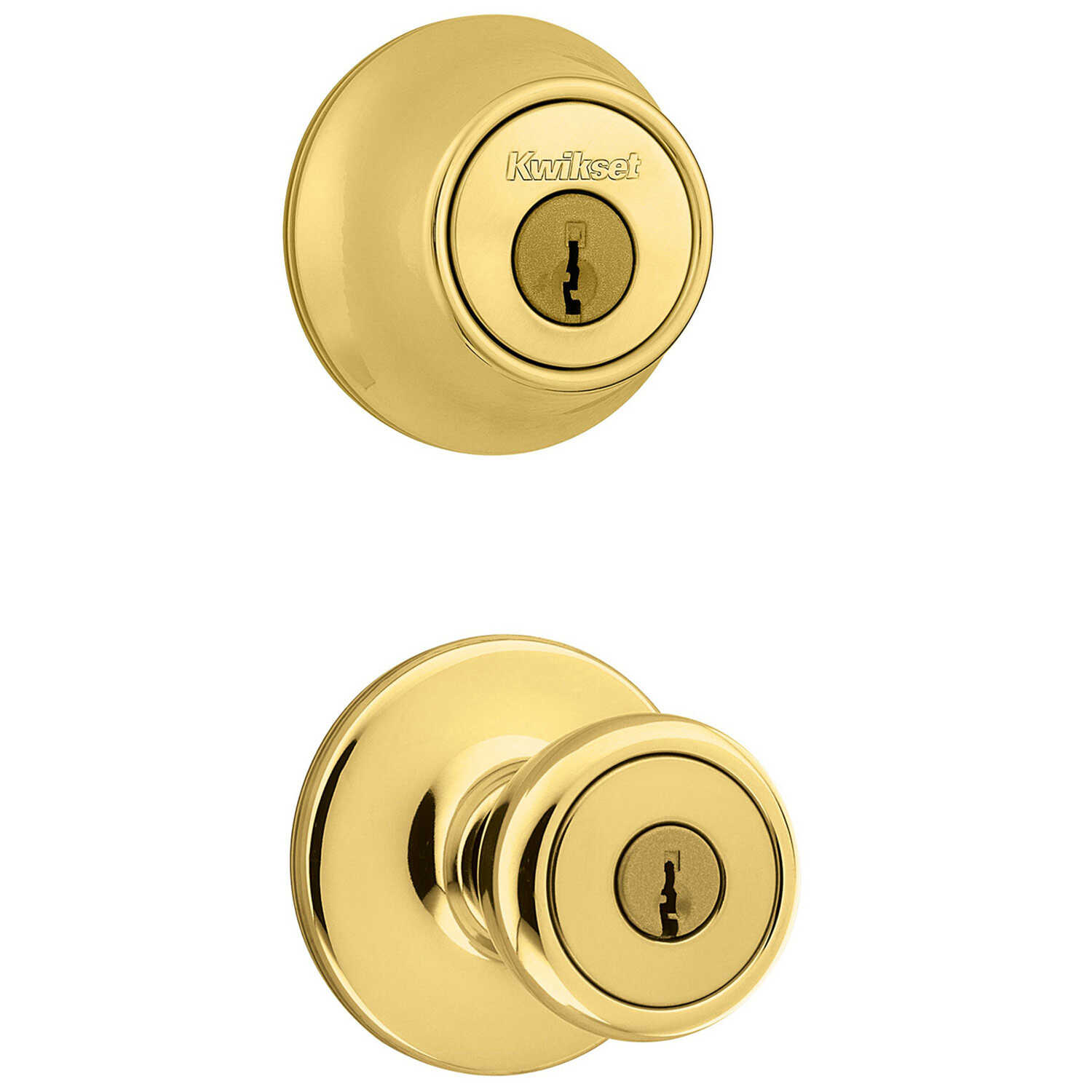 Kwikset  Tylo  Polished Brass  Entry Lock and Single Cylinder Deadbolt  ANSI/BHMA Grade 3  1-3/4 in.
