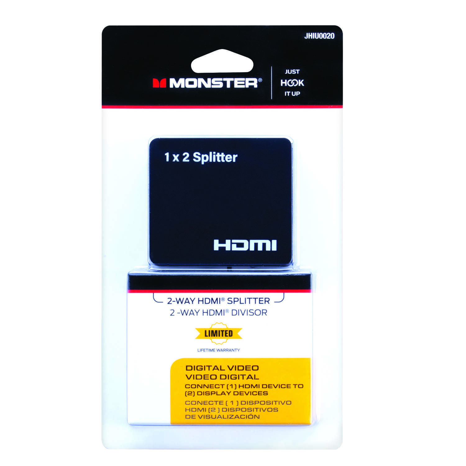 Monster Cable Just Hook It Up 2 Way Splitter 1 pk