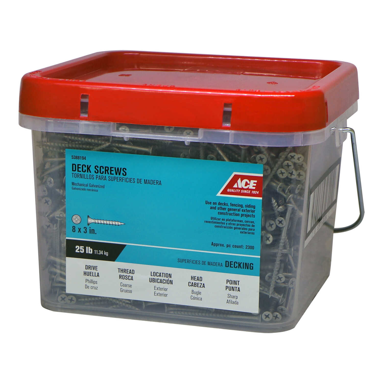 Ace  No. 8   x 3 in. L Phillips  Bugle  Galvanized  Steel  Deck Screws  25 lb. 2200 per box