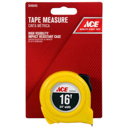 Ace  16 ft. L x 0.75 in. W High Visibility  Tape Measure  Yellow  1 pk