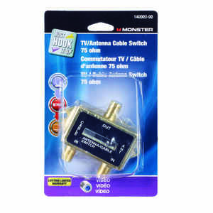 Monster Cable TV Antenna Cable Switch 75 Ohm Gold Card