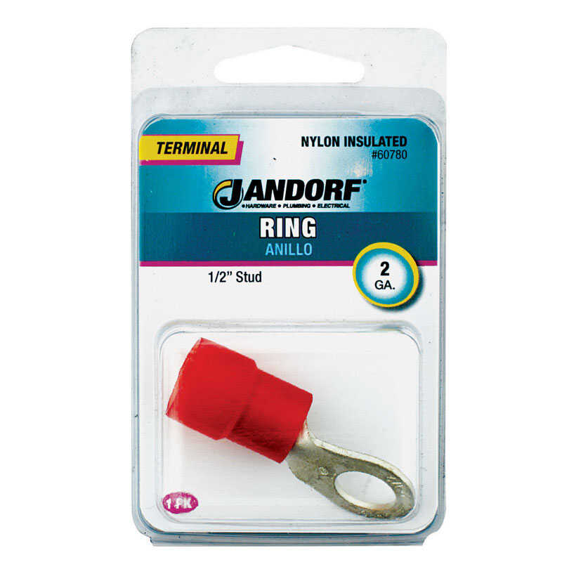 Jandorf  2 Ga. Insulated Wire  Terminal Ring  Red  1 pk