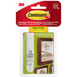 3M  Command  White  Foam  Picture Hanging Strips  Large  16 lb. 12 pk