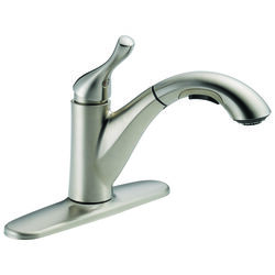 Delta  Grant  Single Handle  One Handle  Stainless Steel  Pull Out Kitchen Faucet
