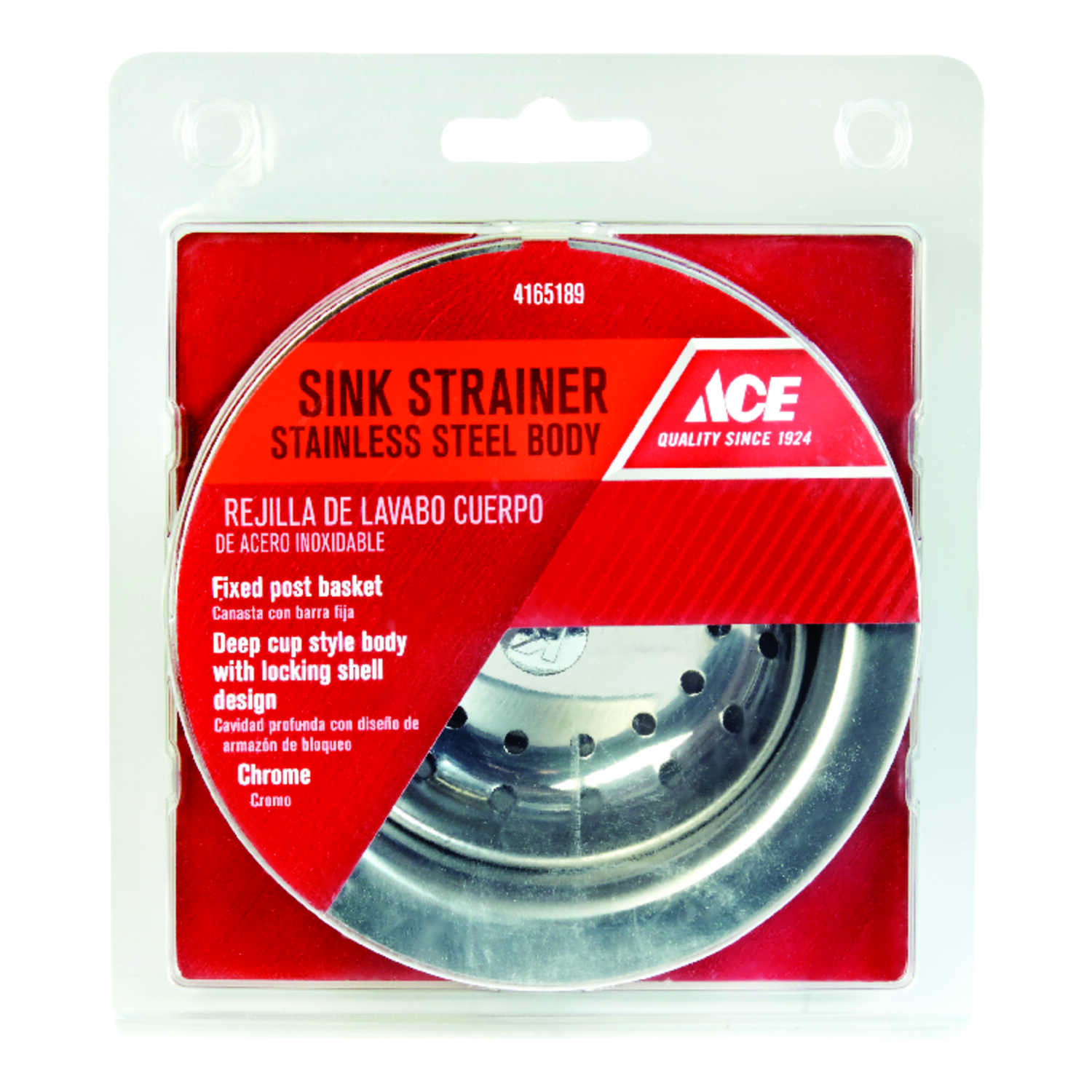Ace  4-1/2 in. Dia. Basket Strainer Assembly  Chrome