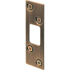 Prime-Line  3.625 in. H x 1.25 in. L Antique Brass  Steel  Deadbolt Strike