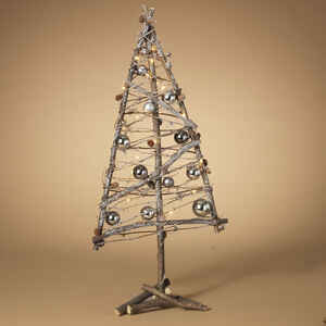 Gerson  Decorated Twig Tree  Christmas Decoration  Silver  Wood, Metal  1 pk