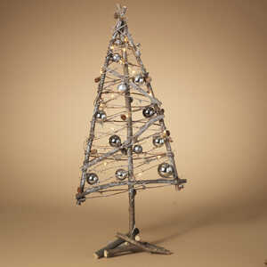 Gerson  Decorated Twig Tree  Christmas Decoration  Silver  1 pk Wood, Metal