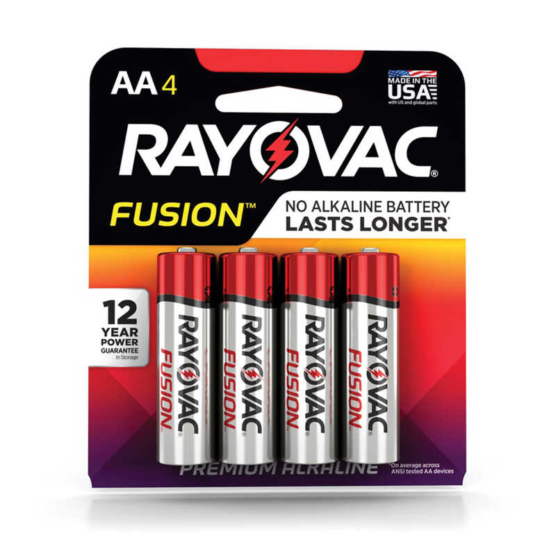 Rayovac  Fusion  AA  Alkaline  Batteries  4 pk Carded