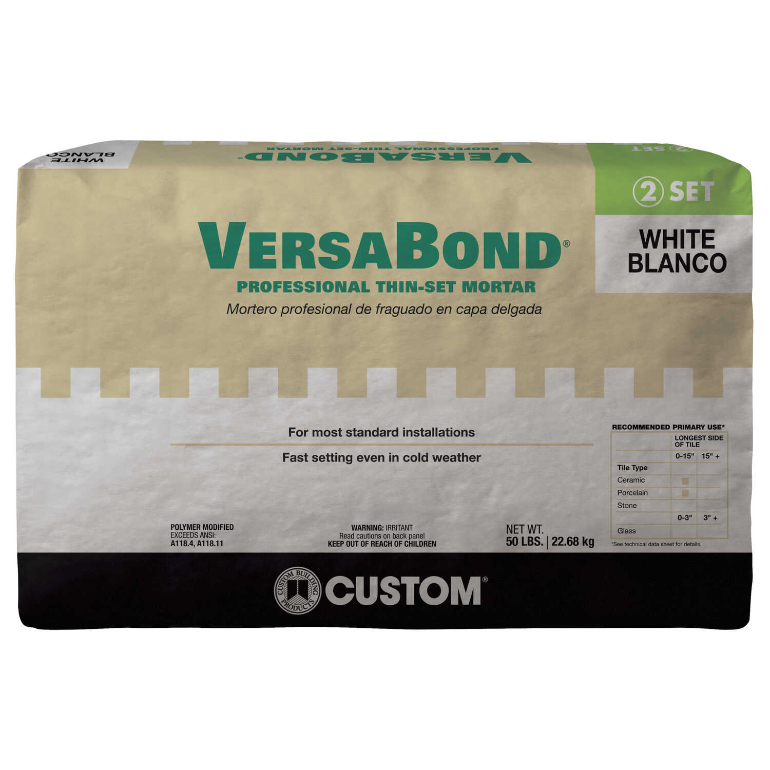 Custom Building Products  VersaBond  White  Modified Thin-Set Mortar