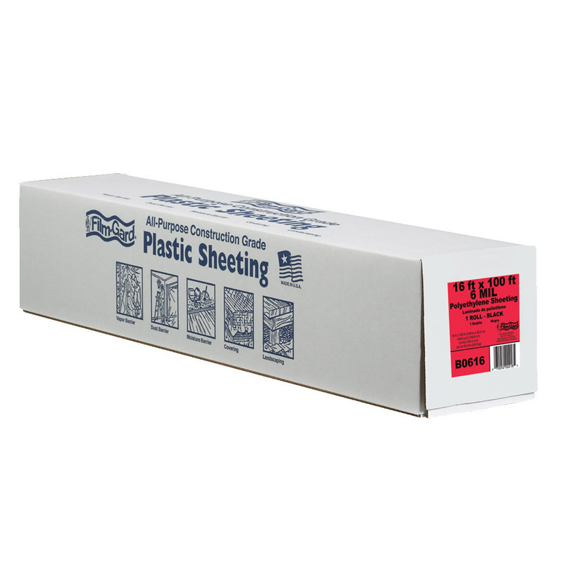 Berry Plastics  Film-Gard  Plastic Sheeting  6 mil  x 16 ft. W x 100 ft. L Polyethylene  Black