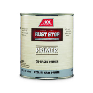 Ace  Rust Stop  Flat  Grey  Alkyd Resin  Oil Primer  For Clean Metals 1 qt.