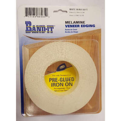 Band It  7/8 in. W x 50 ft. L x .030 in.  White Melamine  Edge Banding