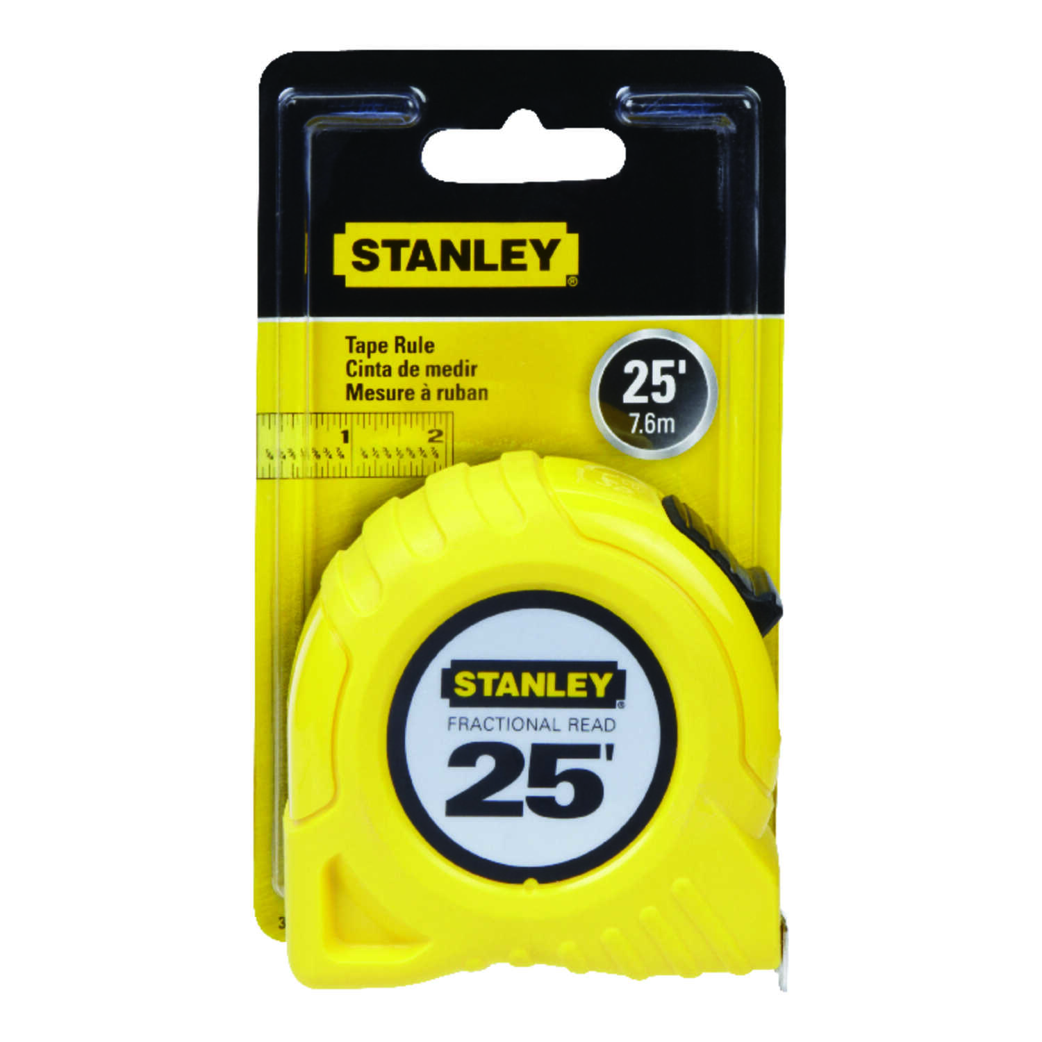 Stanley  25 ft. L x 1 in. W Tape Measure  Yellow  1 pk