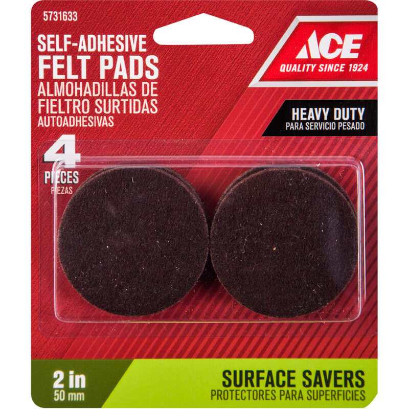 Ace  Felt  Self Adhesive Pad  Brown  Round  2 in. W 4 pk