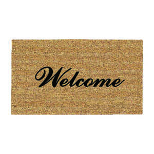 DeCoir  Fancy Welcome  Tan/Black  Coir  Nonslip Door Mat  16 in. L x 27 in. W