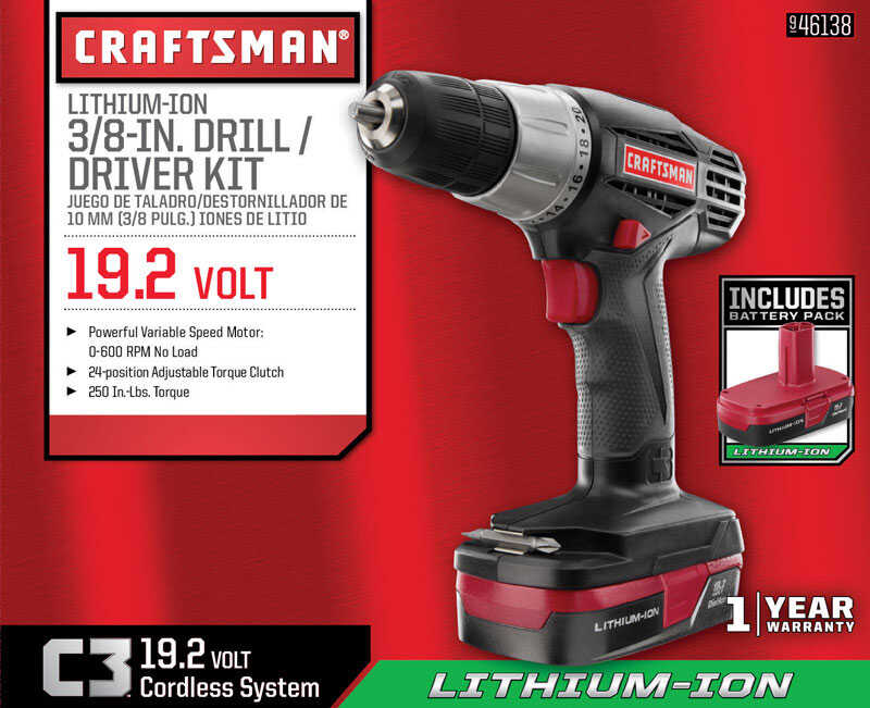 Craftsman  C3  19.2 volt Brushed  Cordless Compact Drill/Driver  Kit  3/8 in. 600 rpm