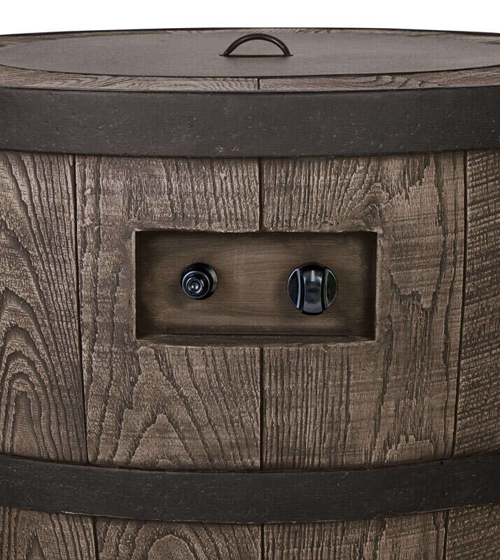 Living Accents  Whiskey Barrel  Propane  Fire Pit  27 in. W x 27 in. D x 25 in. H Stone