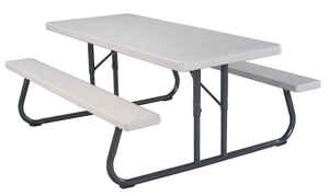 Lifetime  Steel  White  29 in. Picnic Table