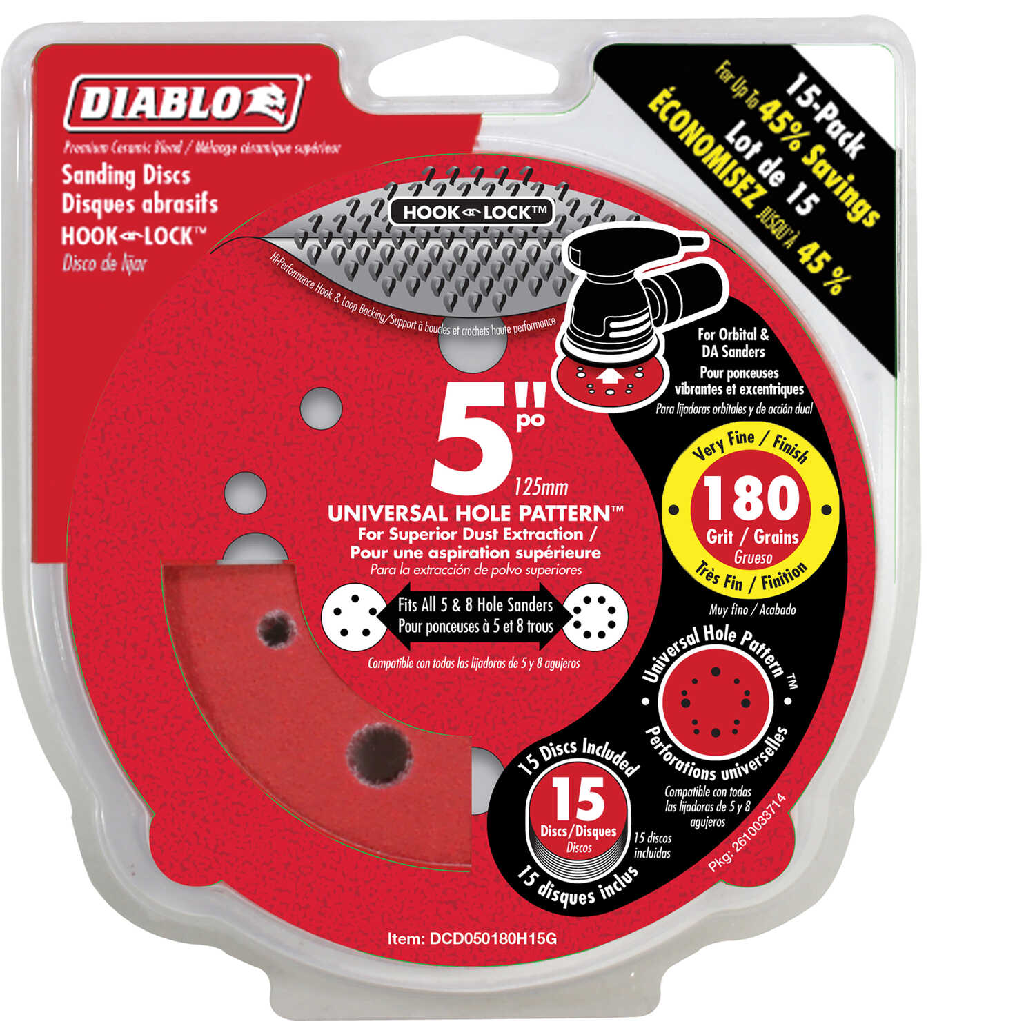 Diablo  5 in. Ceramic Blend  Hook and Loop  Sanding Disc  180 Grit Very Fine  15 pk