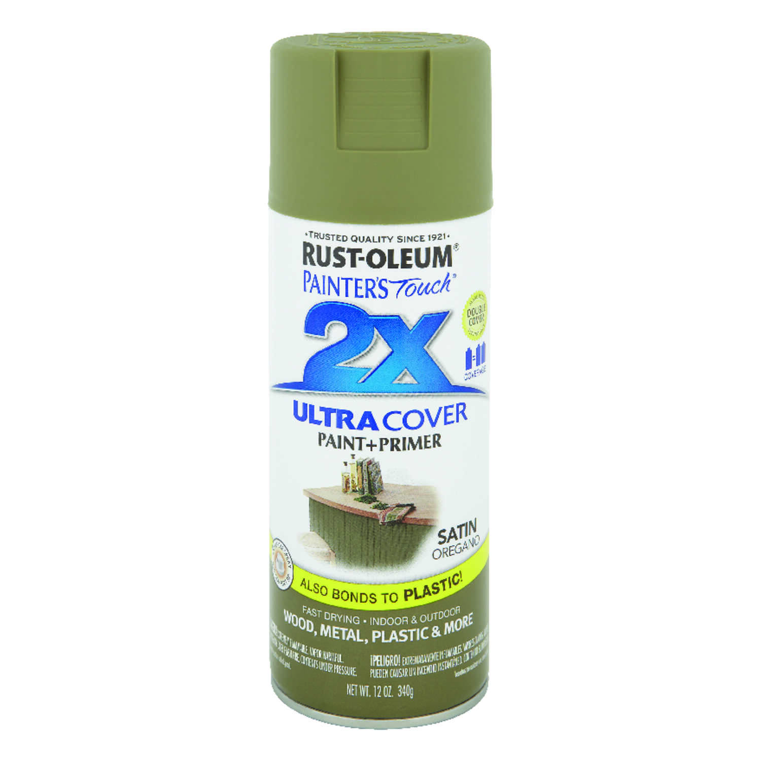 Rust-Oleum  Painter's Touch Ultra Cover  Satin  Spray Paint  12 oz. Oregano