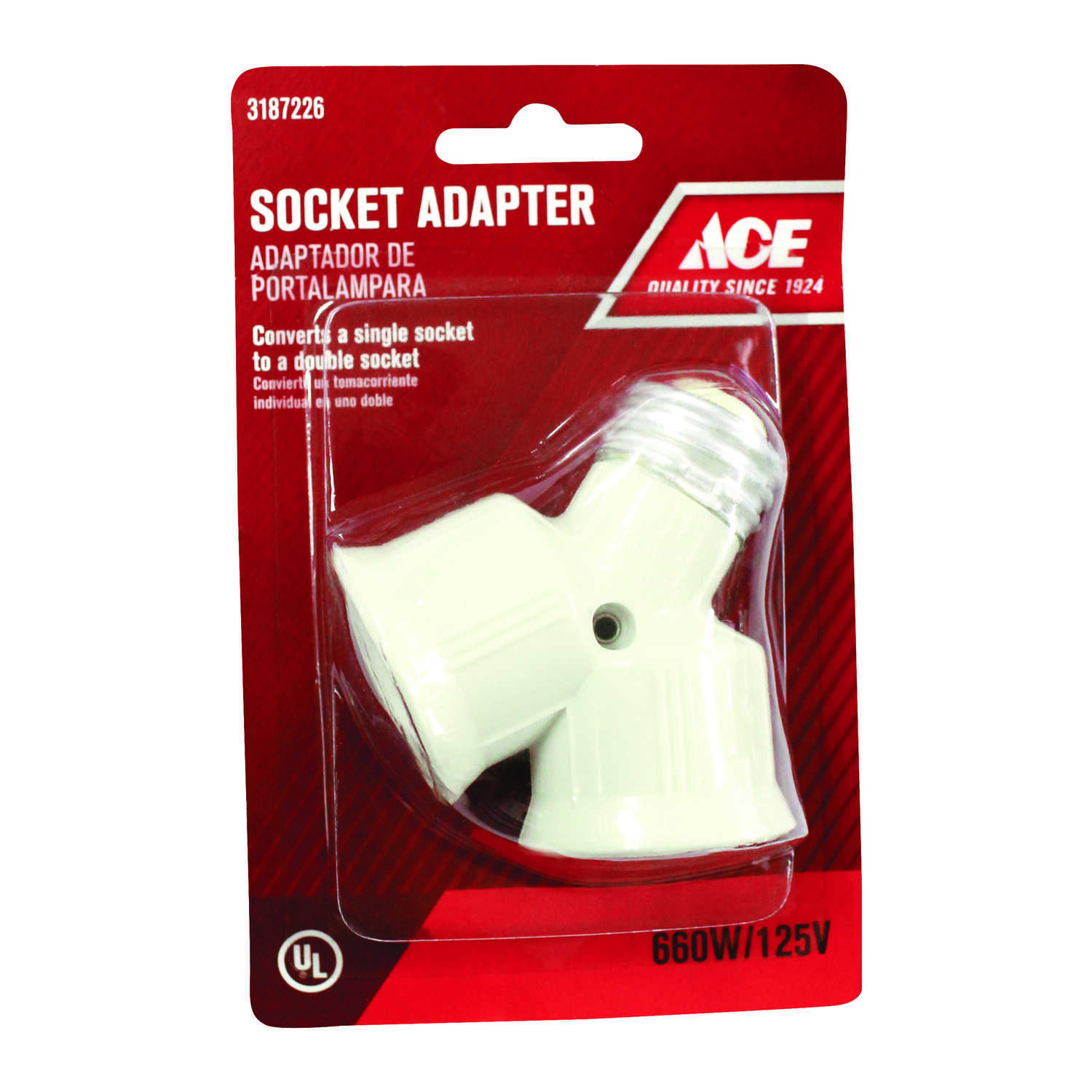 Ace  Twin Light Socket Adapter  1 pk