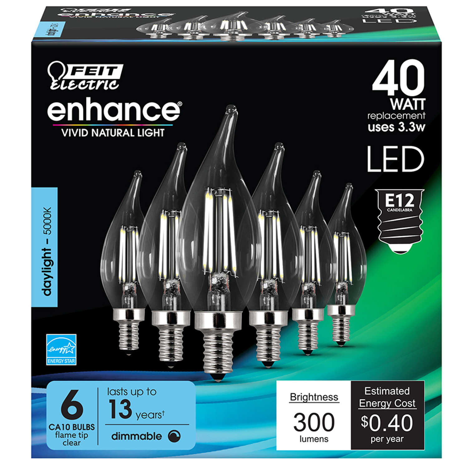 FEIT Electric  Enhance  CA10  E12 (Candelabra)  Filament LED Bulb  Daylight  40 Watt Equivalence 6 p