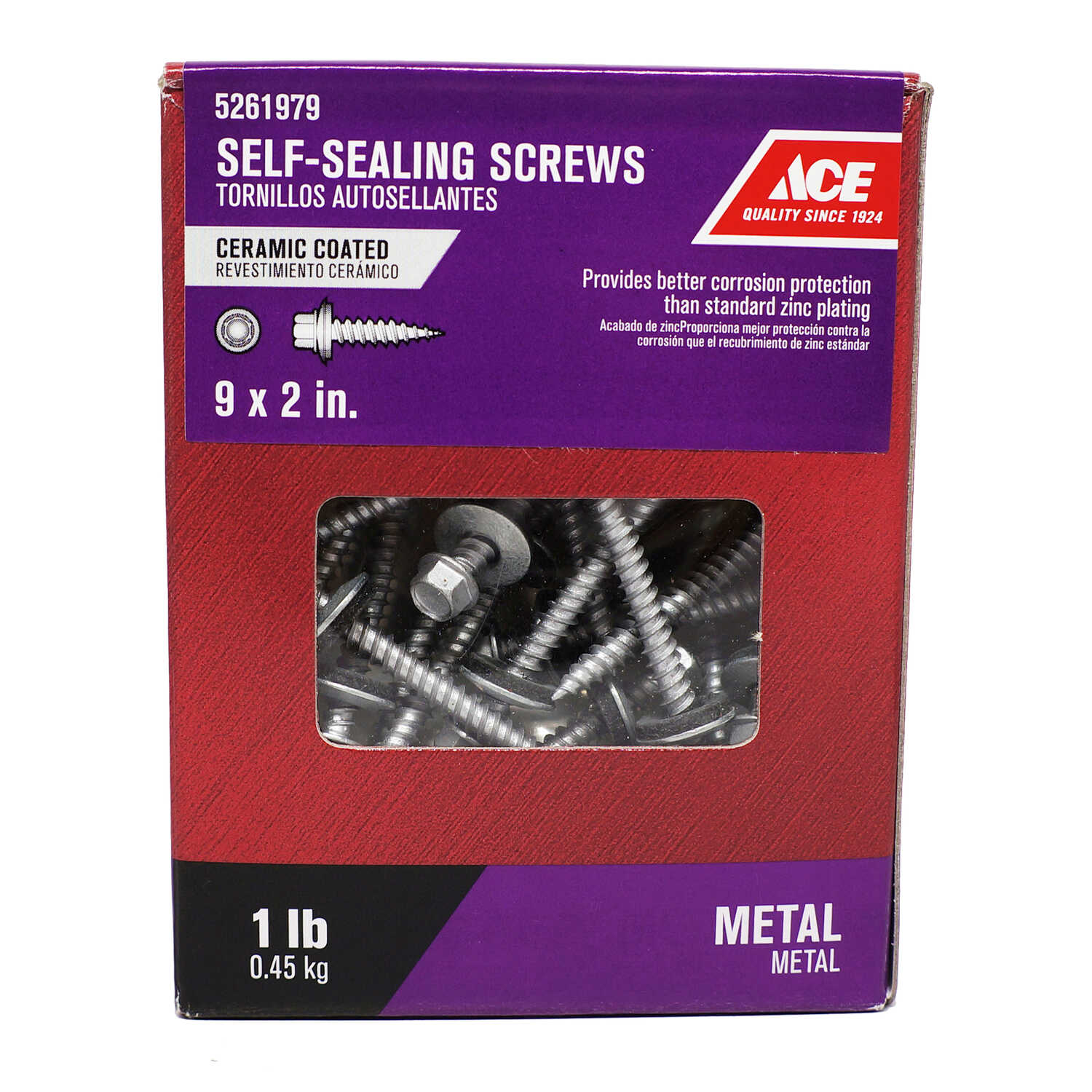 Ace  9 Sizes  x 2 in. L Hex  Hex Washer  Ceramic  Self-Sealing Screws  1 lb. Steel