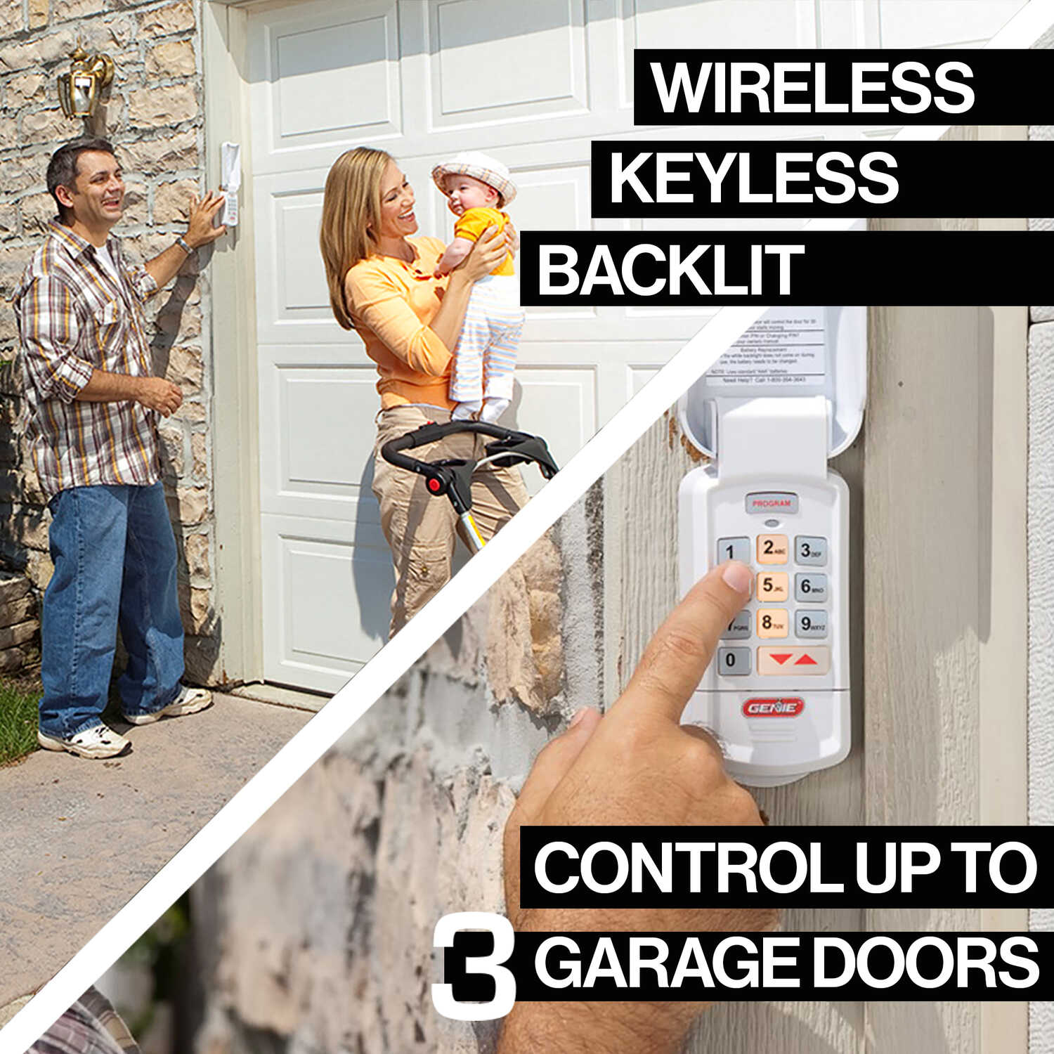 Genie 3 Door Wireless Keyless Entry System For Compatible
