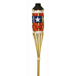 Tiki FlameKeeper Red/White/Blue Bamboo 57 in. Garden Torch