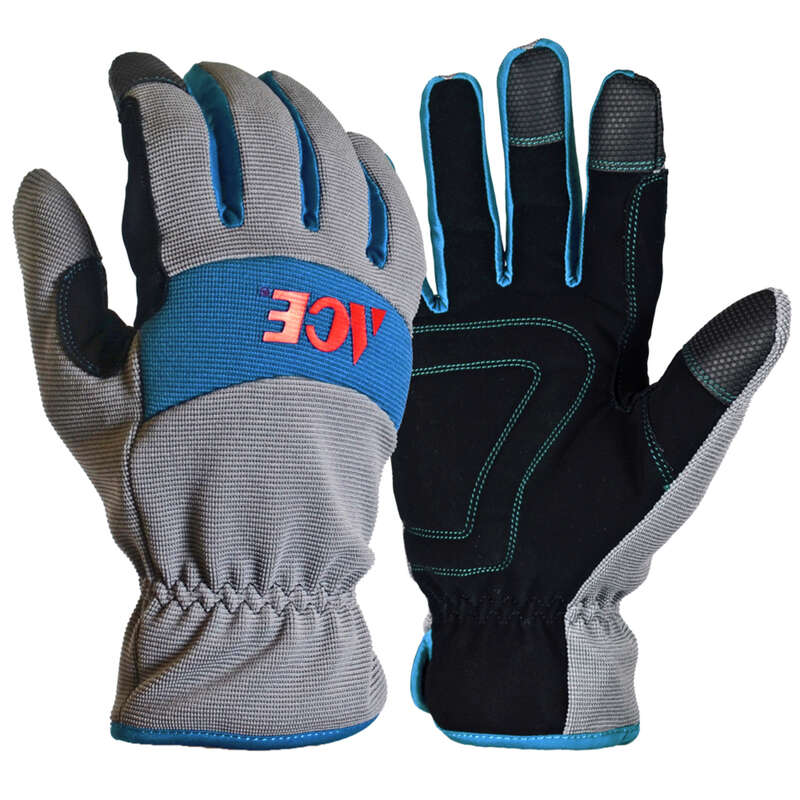 Ace  M  Synthetic Leather  Cold Weather  Blue/Gray  Gloves