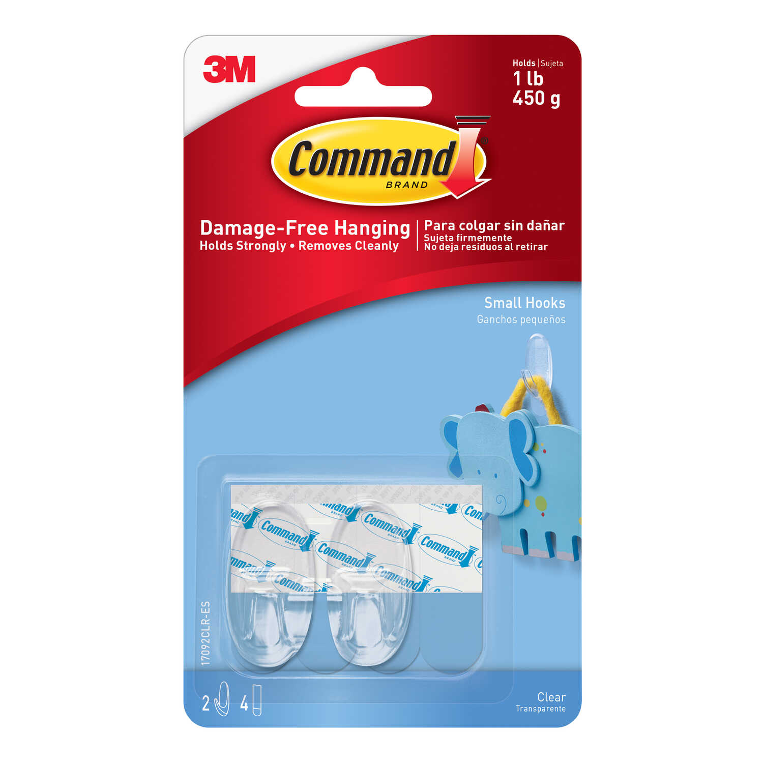 3M  Command  Small  Plastic  Hook  1-5/8 in. L 2 pk