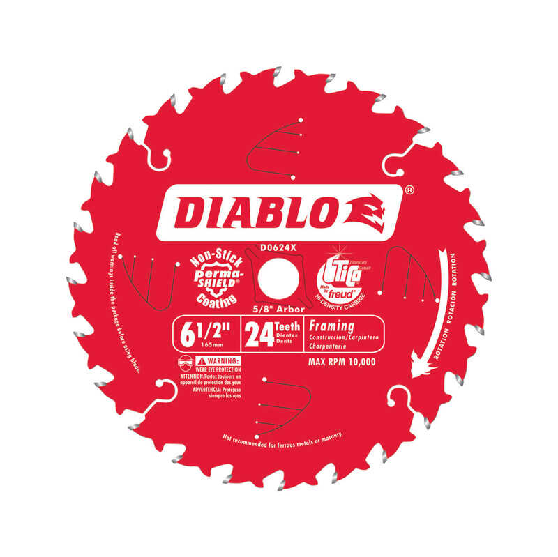 Diablo  6 1/2 in. Dia. x 5/8 in.  x 0.069 in.  Carbide Tip Titanium  Framing Blade  24 teeth 1 pk
