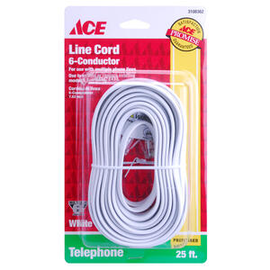 Ace  25 ft. L White  Modular Telephone Line Cable