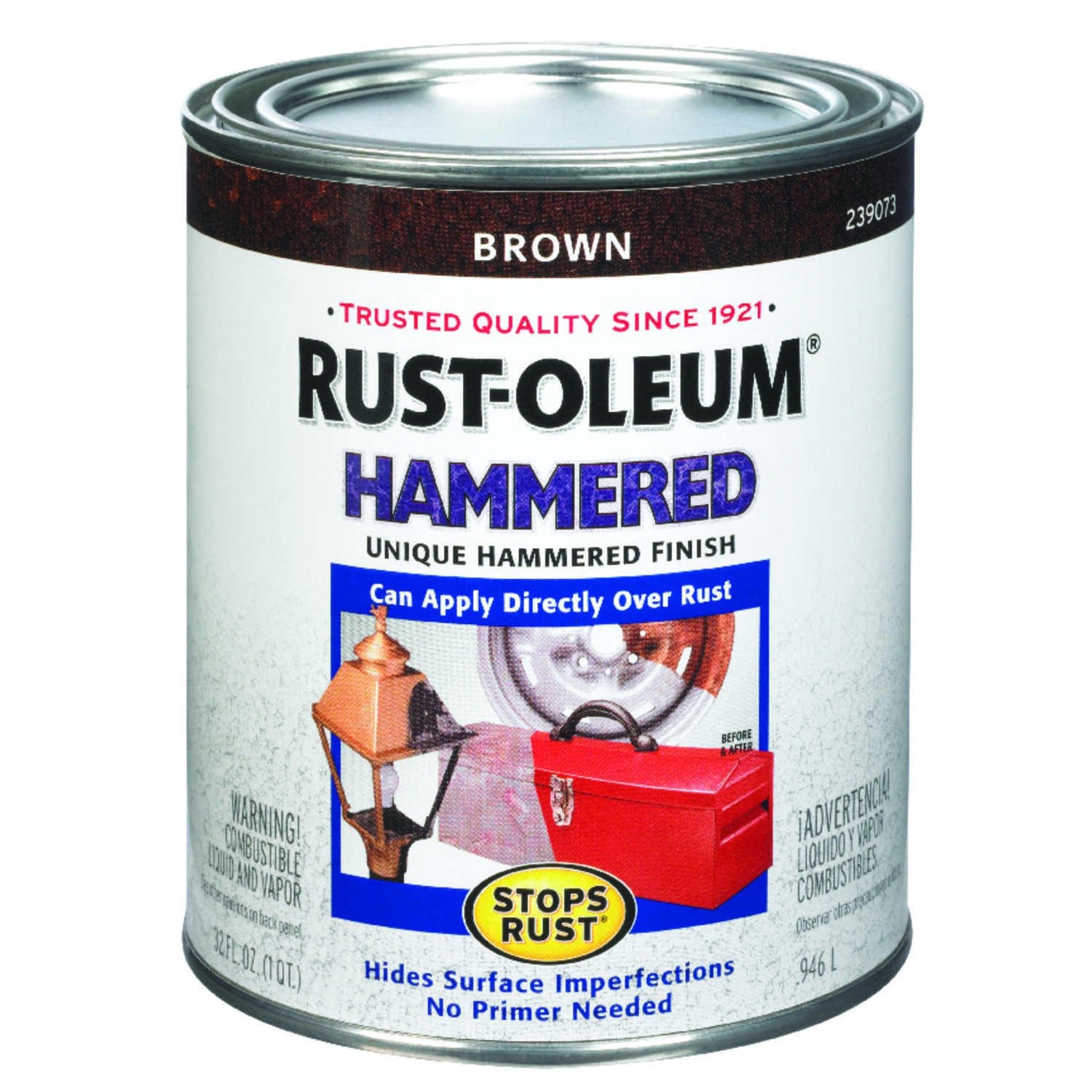 Rust-Oleum  Stops Rust  Indoor and Outdoor  Hammered  Brown  Protective Enamel  1 qt.