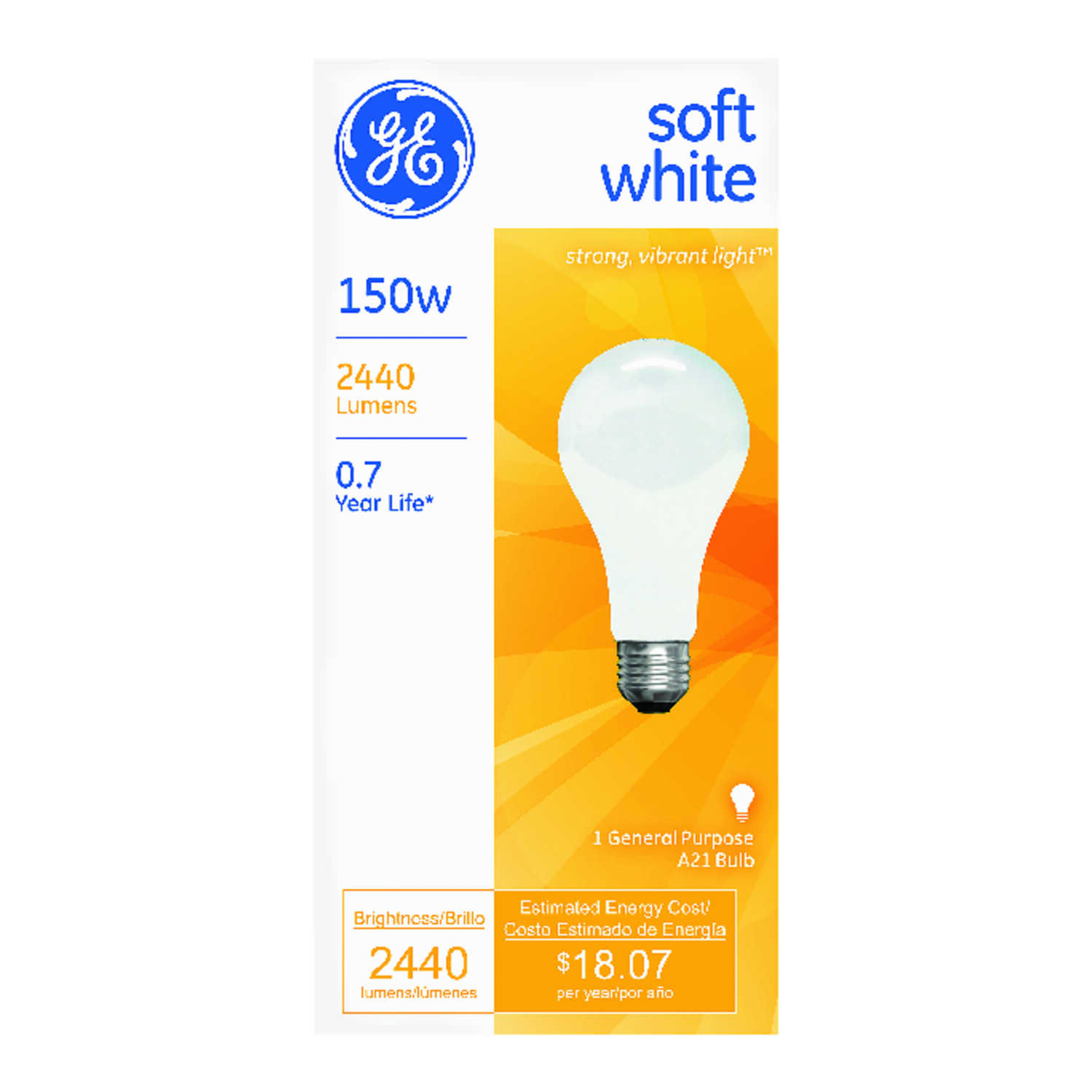 GE Lighting  150 watts A21  Incandescent Bulb  2440 lumens Soft White  1 pk A-Line
