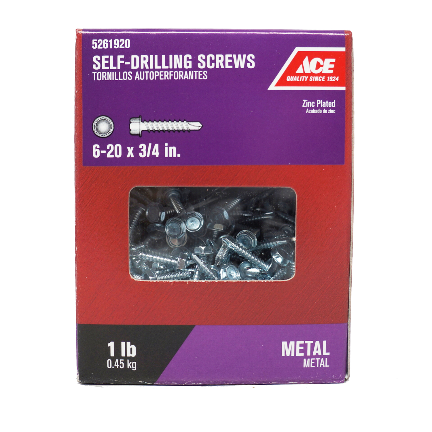 Ace  6-20 Sizes  x 3/4 in. L Hex  Hex Washer Head Zinc-Plated  Steel  Self- Drilling Screws  1 lb.