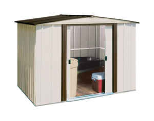 Arrow  Newburgh  6 ft. H x 8 ft. W x 6 ft. D White  Galvanized Steel  Storage Shed