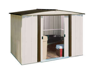 Arrow  Newburgh  6 ft. H x 6 ft. D x 8 ft. W Galvanized Steel  Storage Shed  White