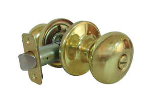 Faultless  Mushroom  Polished Brass  Metal  Privacy Knob  3 Grade Right Handed