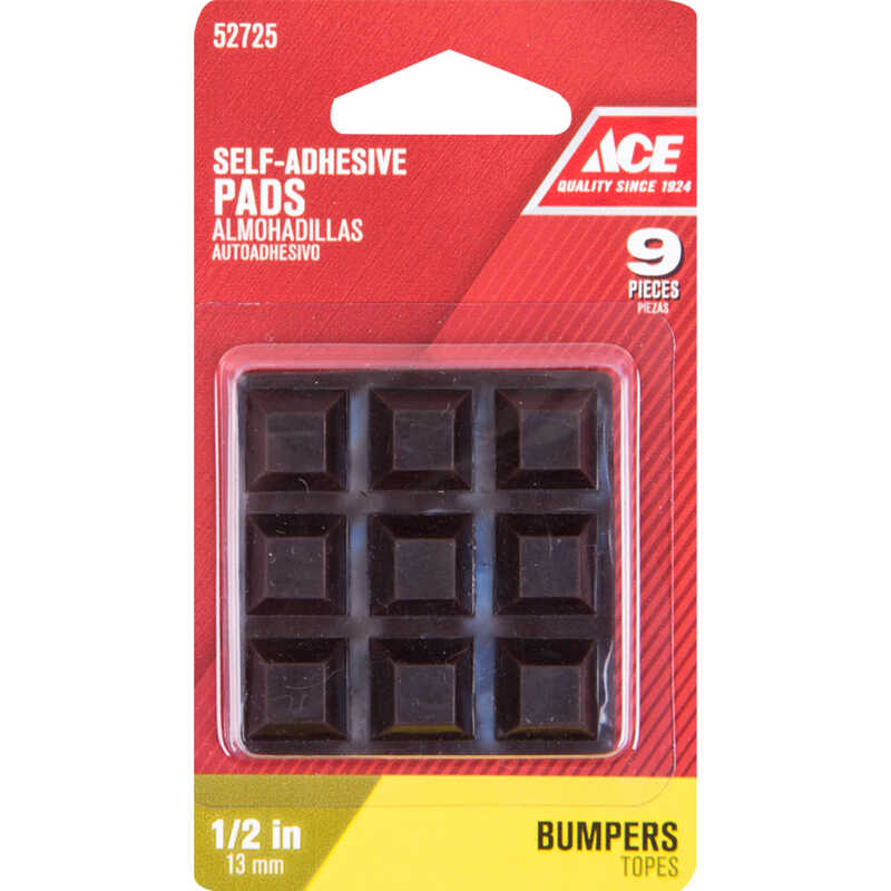 Ace  Vinyl  Bumper Pads  Brown  Square  1/2 in. L x 1/2 in. W Self Adhesive 9 pk