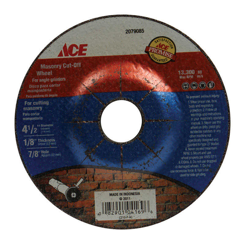 Ace  4-1/2 in. Dia. x 7/8 in.  Aluminum Oxide  Masonry Cut-Off Wheel  1 pc.