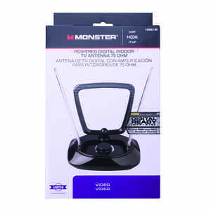 Monster Cable  Just Hook It Up  Indoor  FM/HDTV/UHF/VHF  Amplified Antenna  1 pk
